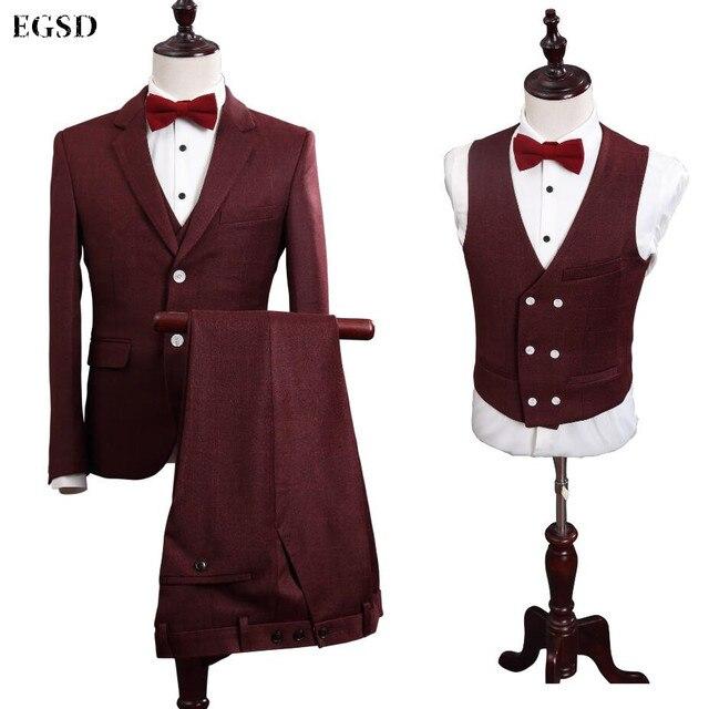 Mode Mode Plaid Personnalisé Marque Marque Marque Rouge Style Vin De Costumes Hommes Ew7Rvw