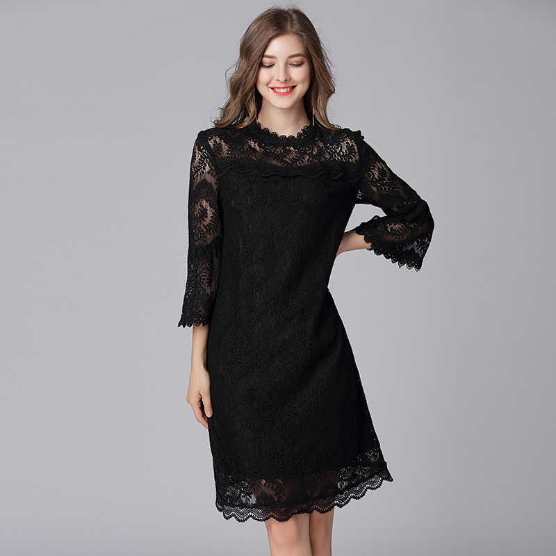 TAOYIZHUAI sommer Herbst Frauen Schwarz Kleid Große Größe Aushöhlen Flare Hülse Kragen Zipper Fly Casual Spitze Kleid Für Frauen