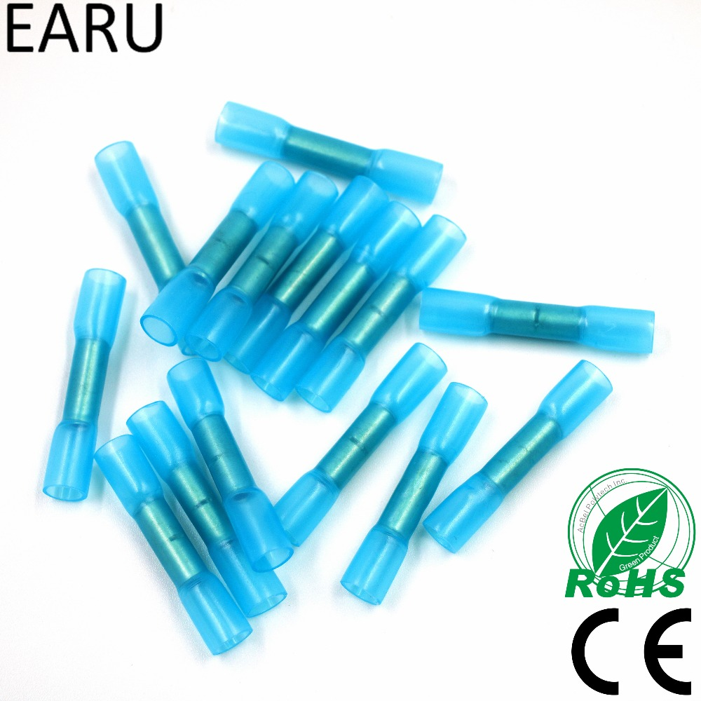 50pcs Blue 16-14 AWG Heat Shrink Butt Wire Cable Crimp Connector Electrical Terminals 1.5-2.5mm2 Quick Connect Connector BHT2