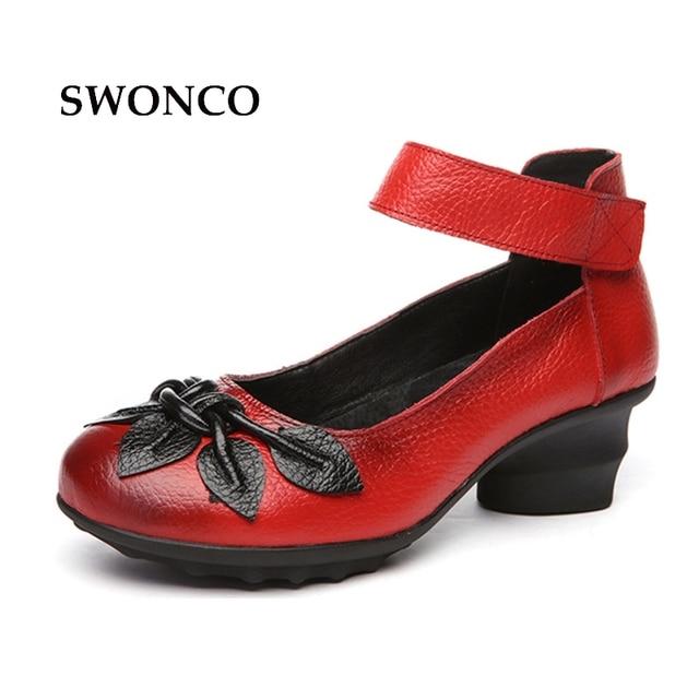 9a99a10e382 SWONCO Women s Pumps High Heels Retro Style Genuine Leather Ladies Shoe  Woman Shoes High Heels Platform Casual Female Shoes