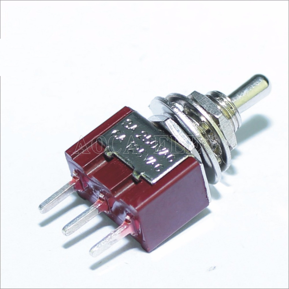 Image 5 - 100PCS MTS 102 C2 PCB Toggle Switch 6MM 3A 250VAC 6A 125VAC 3 Pin SPDT on on Red Color With Short Actuator And PCB Terminal-in Switches from Lights & Lighting