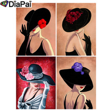 DIAPAI 5D DIY Diamond Painting 100% Full Square/Round Drill Hat beauty character 3D Embroidery Cross Stitch Home Decor