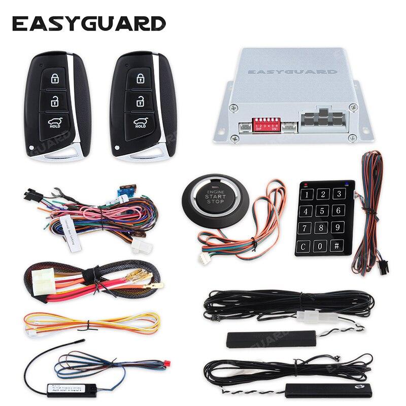 EASYGUARD système pke démarreur à distance sans clé entrée push start système système de verrouillage central de voiture keychain alarme tactile d'entrée de mot de passe