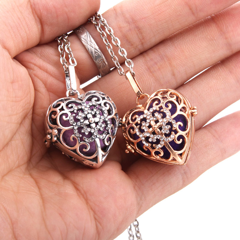 New Aromatherapy Jewelry Butterfly Heart Necklace Vintage Open Lockets Pendants Perfume Essential Oil Diffuser Necklace in Pendants from Jewelry Accessories
