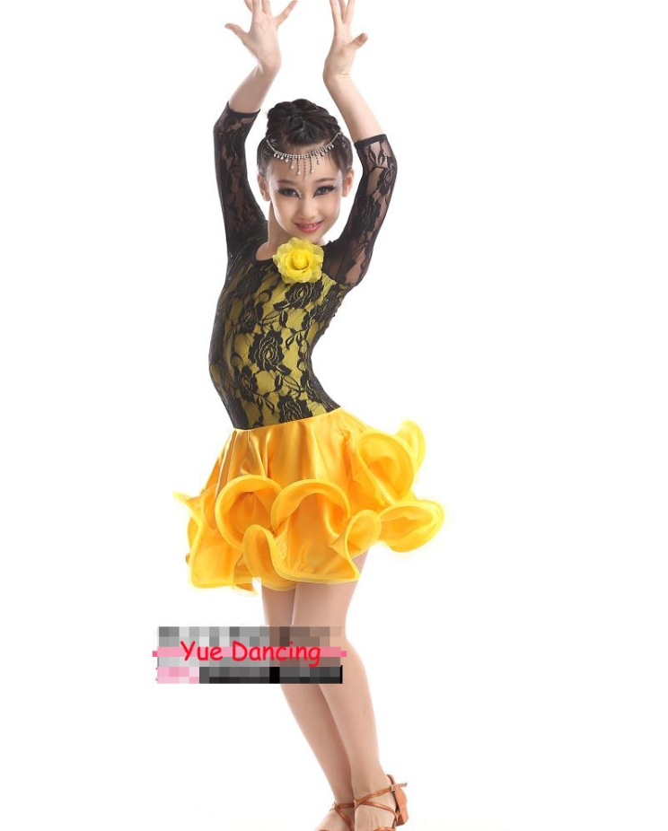 Children Long Latin Skirts Standard Competition Latin Dance Dress For Girls Age 4-17 Faldas Kids Costume Ballroom Dance Wear