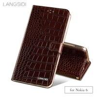 Wangcangli phone case Crocodile tabby fold deduction phone case For Nokia 6 cell phone package handmade custom