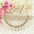 Африканские популярных свадебные украшения имитация перл подвеска позолоченные ожерелье серьги женщины аксессуары подарки