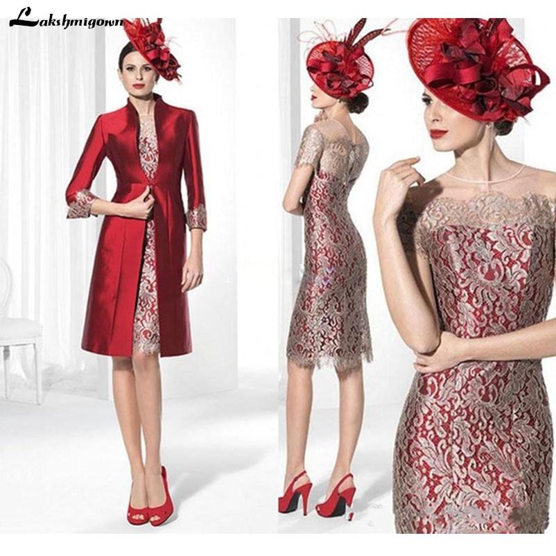 Red Mother Of The Bride Dresses Formal Suit Long Satin Jacket Knee