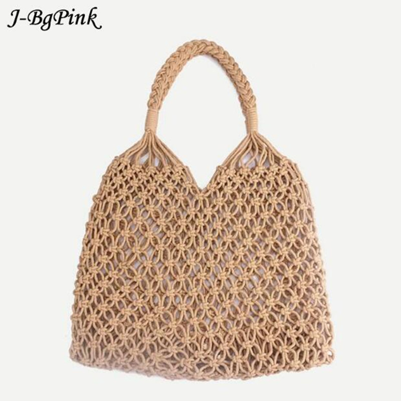 Fashion Popular Woven Bag Mesh Rope Weaving Tie Buckle Reticulate Hollow Straw Bag No Lined Net Shoulder Bag 35x35CM