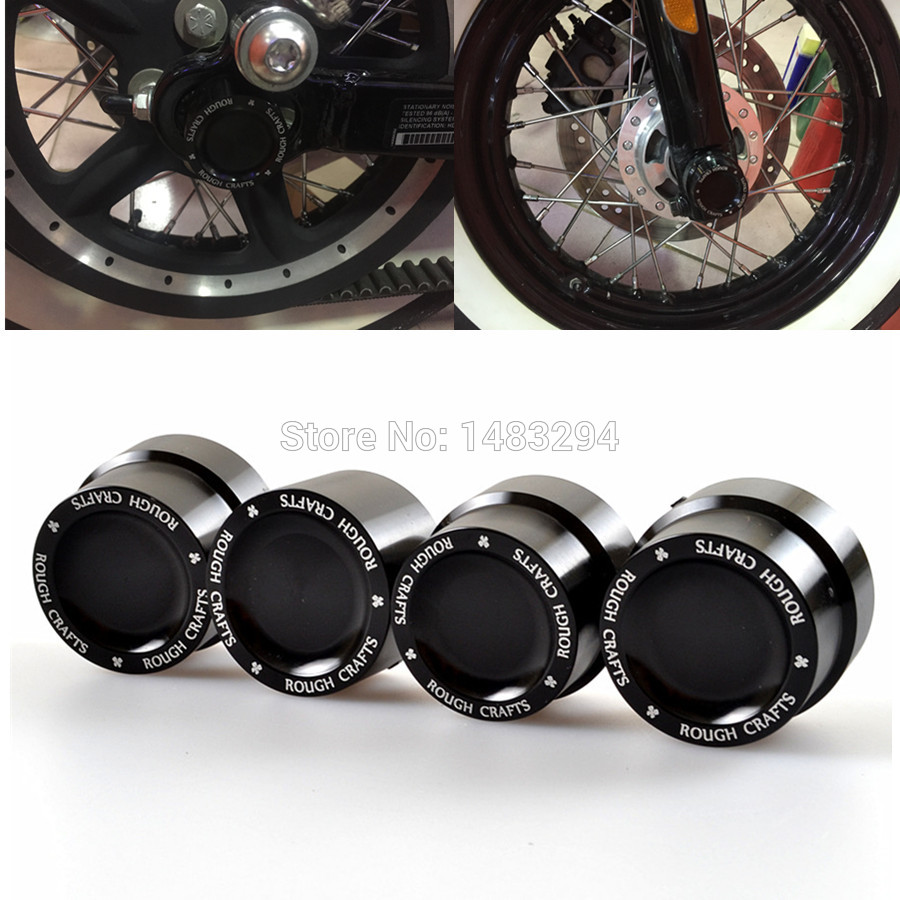 цена на 2Pair Rough Crafts Black Aluminum Axle Nut Covers Bolt Kit Fits For Harley Sportster XL883 XL1200 Dyna Touring V-Rod