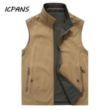 ICPANS Vests Men Stand Collar Reversible Vest Photography Military Sleeveless Jacket gilet homme Big Size 4X; 5XL