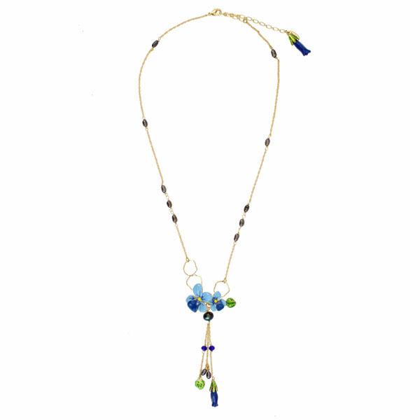 Jóias da moda europeus les nereides flor azul borla 24 k Colar banhado a ouro partido jóias-Frete Grátis