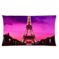 Paris Tour Eiffel Imprimé Taie d'oreiller Personnalisé Spacieux Rectangle Maison Lit Souple À Fermeture Éclair Coussin Couverture 20x30 (Côtés jumeaux)