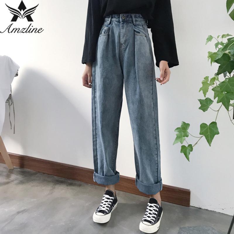 Amzline Loose Vintage Chic Woman Jeans 2017 Autumn Bleached Casual Boyfriend Curl Denim Wide Leg Pants