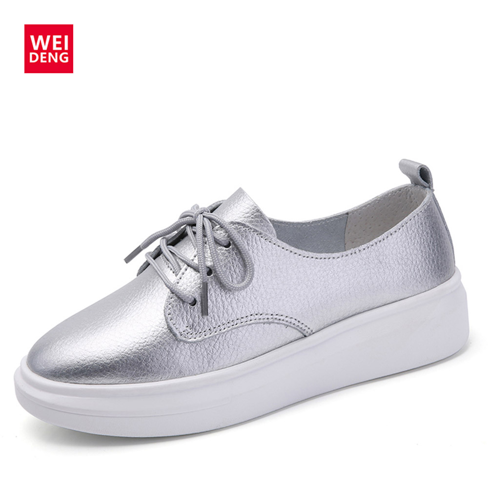 WeiDeng Ultra Light Genuine Leather Platform Heels Lace Up Women Summer Casual Shoe Breathable Chaussure Femme Shoes Winter summer casual shoes platform shoes white shoe women breathable mesh cloth lace up increased within students thin shoe