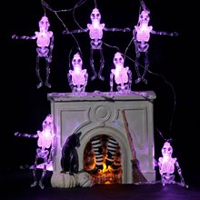 METABLE 1PCS 10FT Battery Operated Halloween Spider SKULL GHOST Fairy Lights with 20 Purple LEDs for Decorations