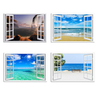 Window Frame Style Seascape Canvas Print Wall Art Modern Sea Wall Picture for Home Office Decoration Living Room Bedroom