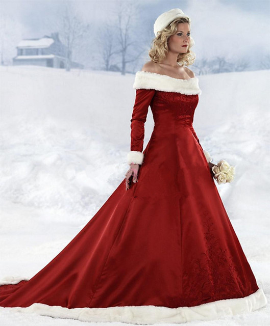 2016 New Style Off The Shoulder Long Sleeve Winter Bridal Gowns Red Christmas Wedding Dresses Taffta