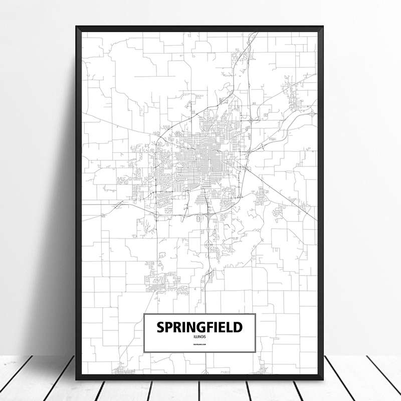 Springfield, <font><b>Illinois</b></font>, United States Black White Custom World City Map Poster Canvas Print Nordic Style Wall Art Home Decor image