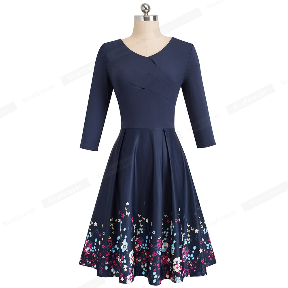 Vintage Elegant Floral Flare Swing Dress 1
