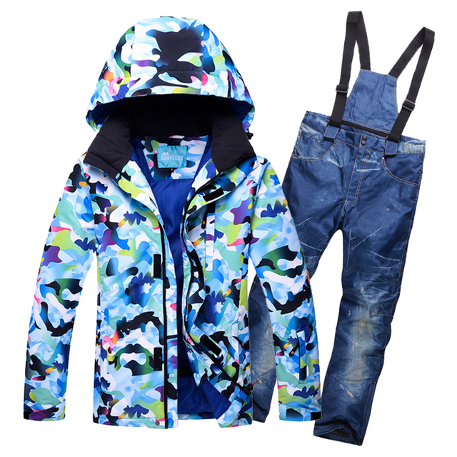 Thermal Heavy Skiing Waterproof Snow Jackets And Bib Pants Men Ski Snowsuit  Hooded Camo Printed Snowboard Suits For Male bb692e294