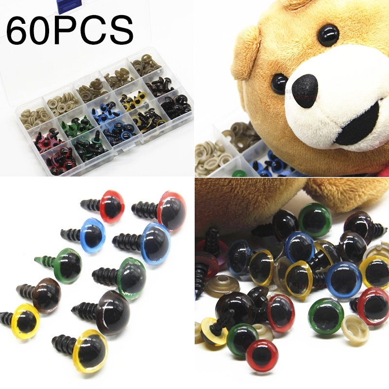 50 PCS 16 MM Diameter Round Blue Transparent Plastic Safety Eyes Toys DIY Sewing Crafting Buttons Accessories for Plush Bear Animals Dolls Handmade Gift