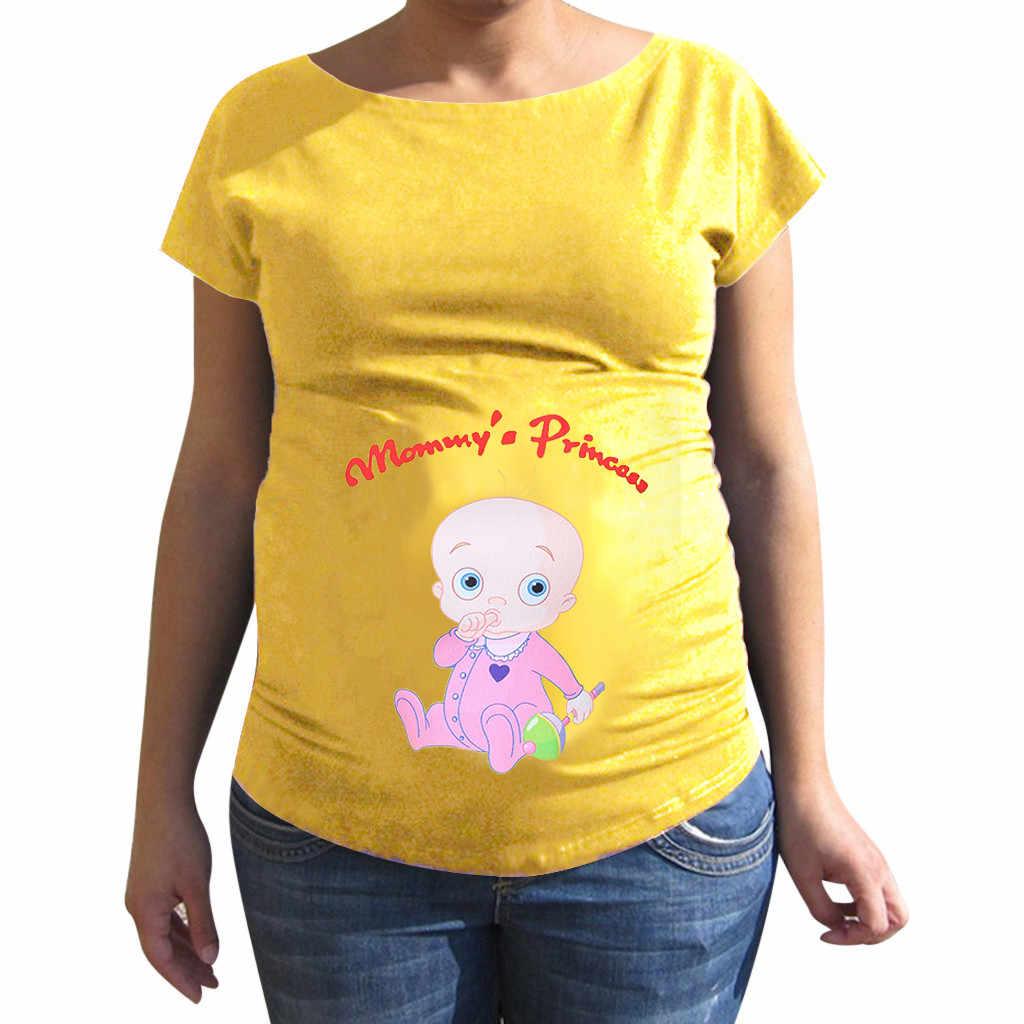 MUQGEW/Одежда для беременных; Топ для кормящих мам; Милая разноцветная футболка с круглым вырезом и буквенным принтом для беременных; топы для беременных; hamile