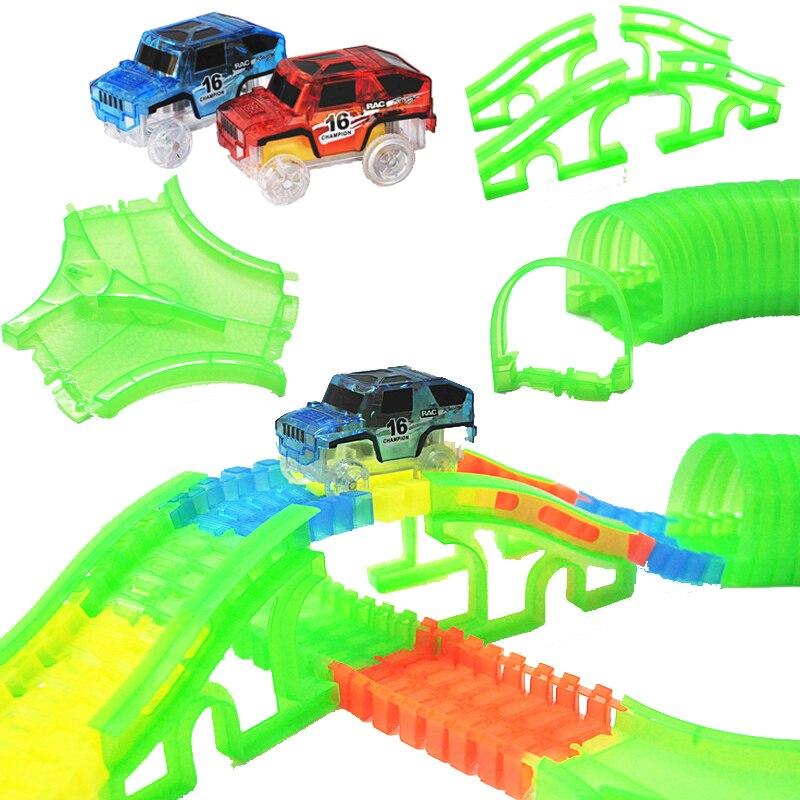 New Glowing car racing Track Glow in dark toys Crossing/Tunnel/Arch Bridge Car set Bend Flex Cars toy for children brinquedos