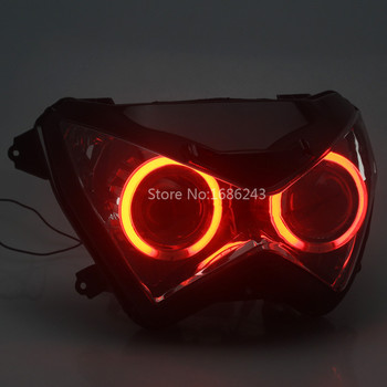 Red Angel Eyes HID Headlight Assembly High/Low Beam for Kawasaki Z800 Z250 Z300