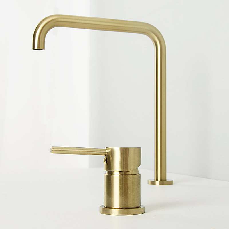 Black Brass Basin Faucet 7 Long Pipe Two Holes Hot And Cold Bathroom Mixer Sink Tap 360 Rotation Widespread Deck Mounted