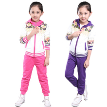 2016 new fall fashion children's clothing girls sports suit long-sleeved simple and comfortable movement piece
