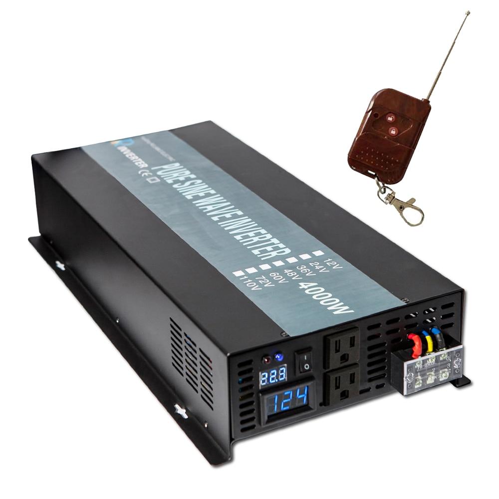 цена на Pure Sine Wave Solar Inverter 24V to 220V 4000W Inverter Converter Power Supply 12V/48V DC to 110V/120V/240V AC Remote Control