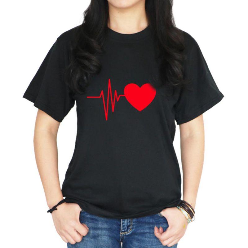 2018 Summer Heart Print T-Shirts Women Spring Summer Tops Shirt Fashion Cloth Solid Black White T-Shirt Cool Tops Plus Size z1