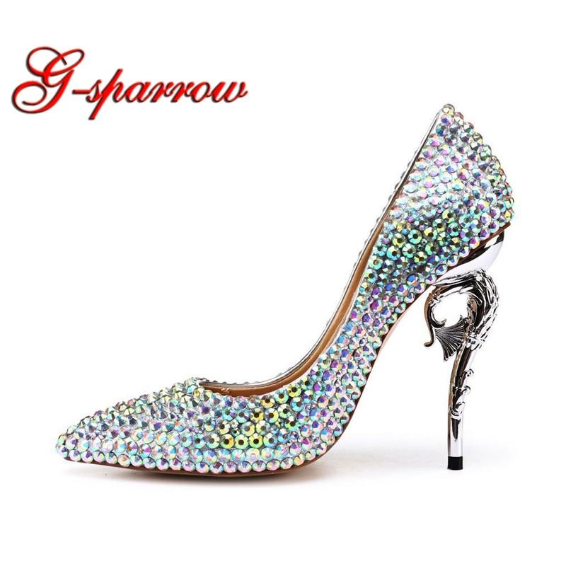 Luxurious AB Crystal Wedding Shoes Strange Style Bridal Party Dress Shoes Pointed Toe Shining Rhinestone Prom Pumps Size 41 цены онлайн