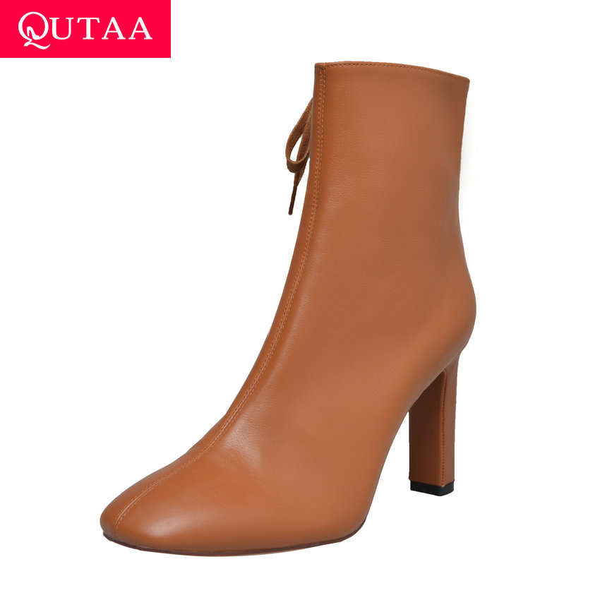 QUTAA 2020 Side Lace Up Cow Leather Comfortable Ankle Boots Winter Short Plush Square Toe Sexy High Heel Short Boots Size 34-39QUTAA 2020 Side Lace Up Cow Leather Comfortable Ankle Boots Winter Short Plush Square Toe Sexy High Heel Short Boots Size 34-39