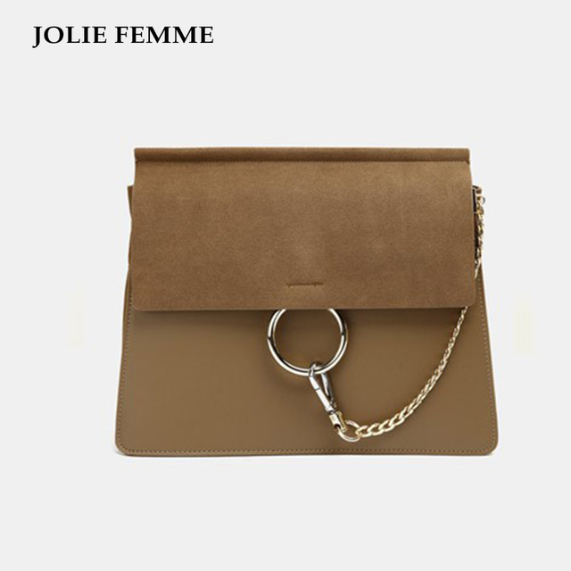 JOLIE FEMME Hot Sales Shoulder Bag 3 Types Women Vintage Handbags Retro Nubuck Leather Crossbody Bags Chain Circle Ring Clutches