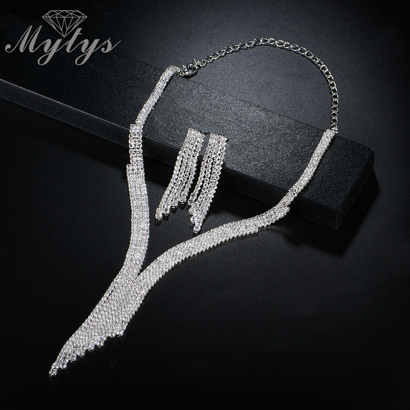 Mytys Silver-color Crystal Bridal Jewelry Sets Modern City Fashion Geometric Necklace Earrings Wedding Jewelry for Women CN315