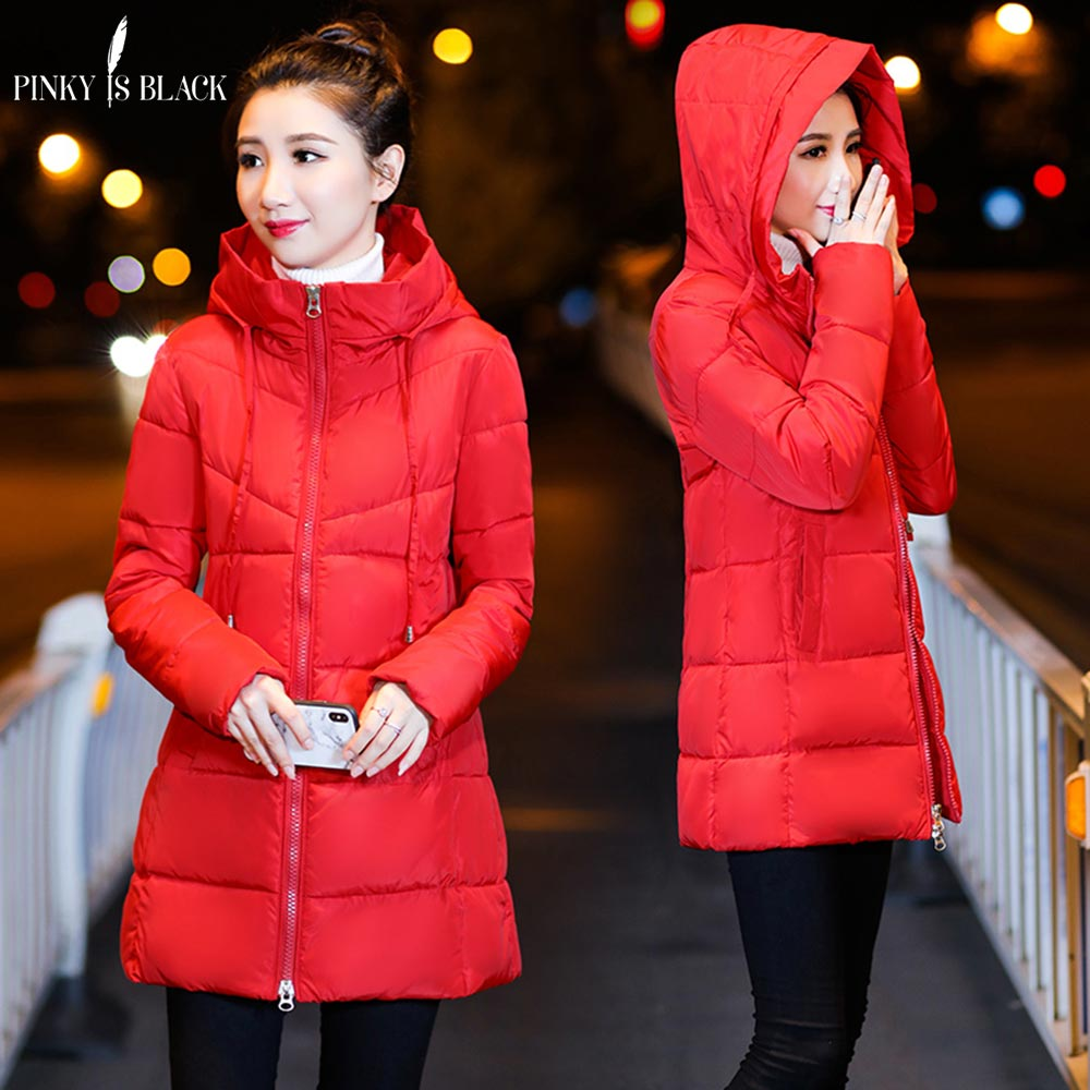 PinkyIsBlack Winter Jacket Women Coats Hooded Female Long   Parkas   Thicken Hooded Down Cotton Padded Lining Winter Coat Women 2018