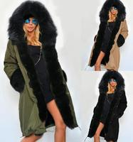 2017 New Winter Womens army green Long Cotton padded Parka Casual Outwear Military Hooded Coat Fur Coats Manteau Femme S XXL