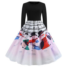 Women's Dress Vestido De Festa Vintage Musical Notes Print Long Sleeve Christmas Evening Party Dress Vestidos Mujer Hot Sales(China)