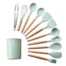 Cuchara giratoria de madera de silicona para sopa espátula, cepillo, servidor de Pasta, batidor de huevos, utensilios de cocina, menaje de cocina verde/rosa, 1 ud.