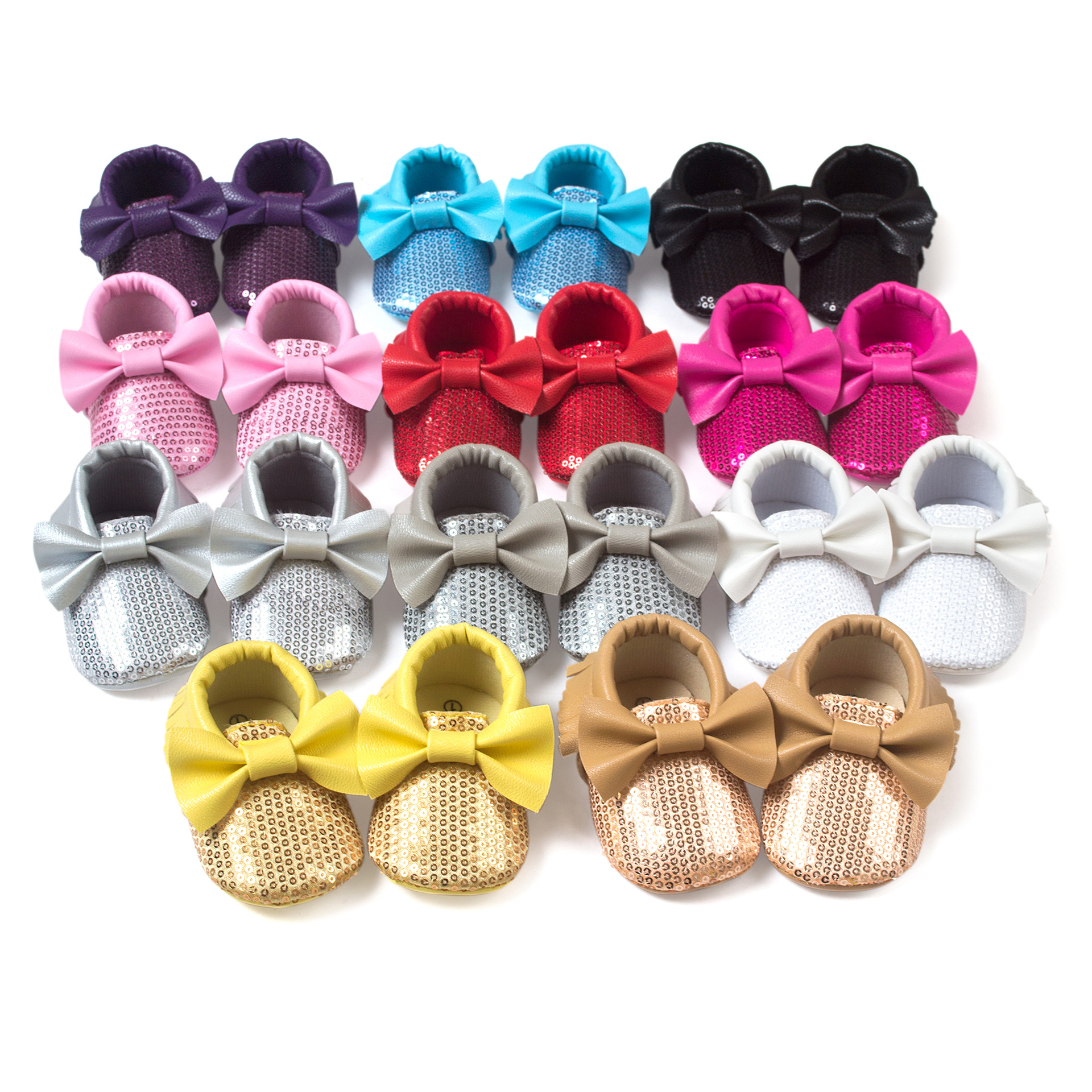 Fashion Sequins Baby Shoes Moccasins Tassel bowknot Infants Toddler Shoes Spring Autumn Girls Shoes Newborn Gifts