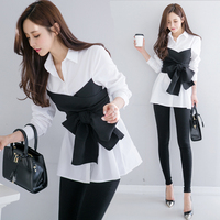 Women Blouse With Bow 2018 Spring And Autumn New Fake Two Pieces Full Sleeves Tops For Women Fashion Women Blouses