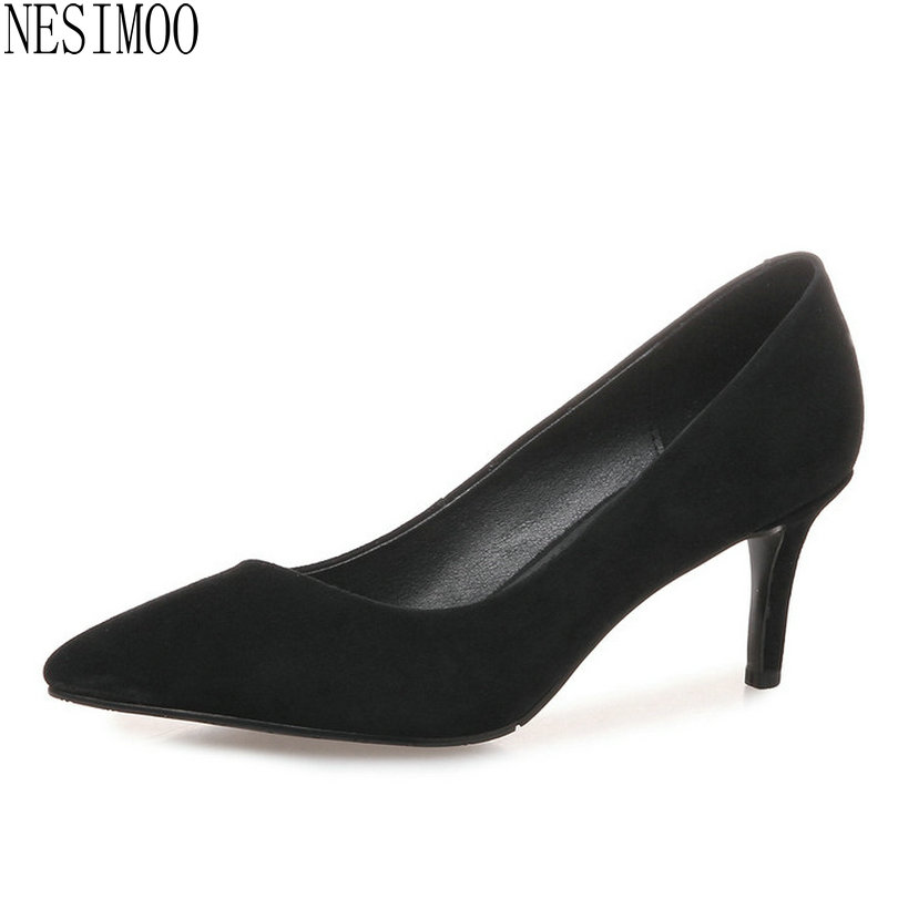 NESIMOO 2018 Women Pumps All Match Fashion Thin High Heel Pointed Toe Cow Suede Spring/ Autumn Slip on Ladies Pumps Szie 34-39 fashion women ladies pumps solid color spring summer pointed toe thin heel shoes new arrival high quality brand slip on pumps