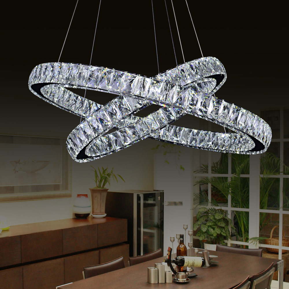 Led chip double ring crystal chandelier lamparas de techo colgante led chip double ring crystal chandelier lamparas de techo colgante adjustable luzes de teto flush mount ceiling lamps fixtures in chandeliers from lights arubaitofo Choice Image