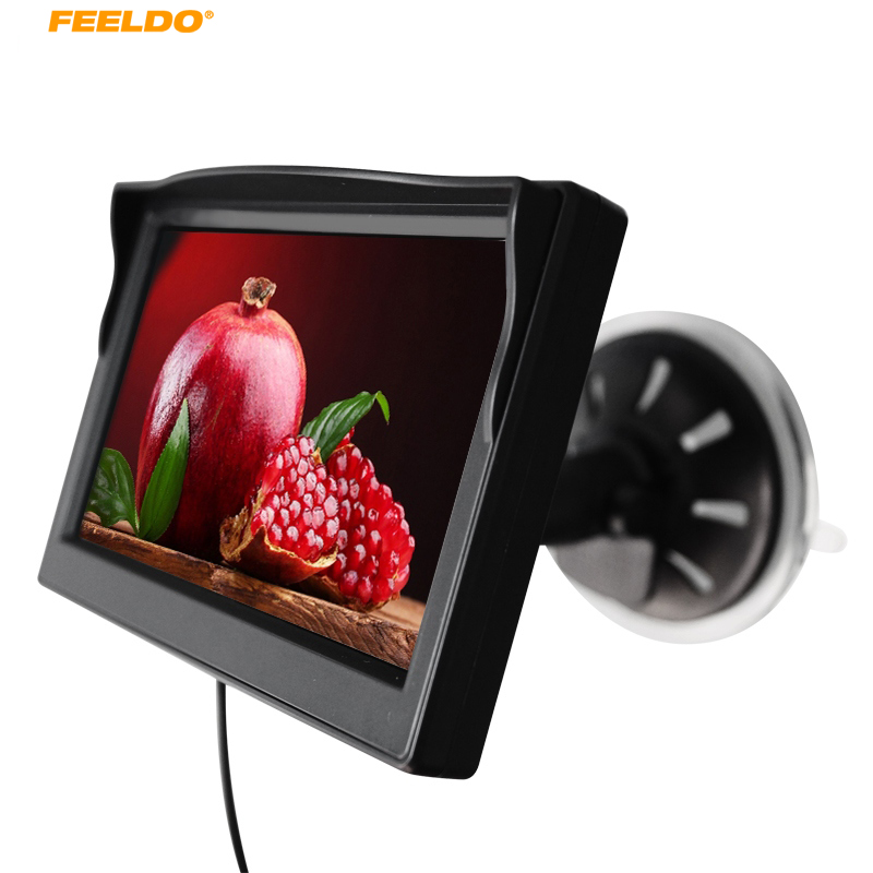 """Feeldo 1 компл. 5 дюймов TFT ЖК-дисплей Дисплей лобовое стекло ЖК-дисплей """" Car Мониторы для заднего Резервное копирование Камера DVD VCR# am4574"""