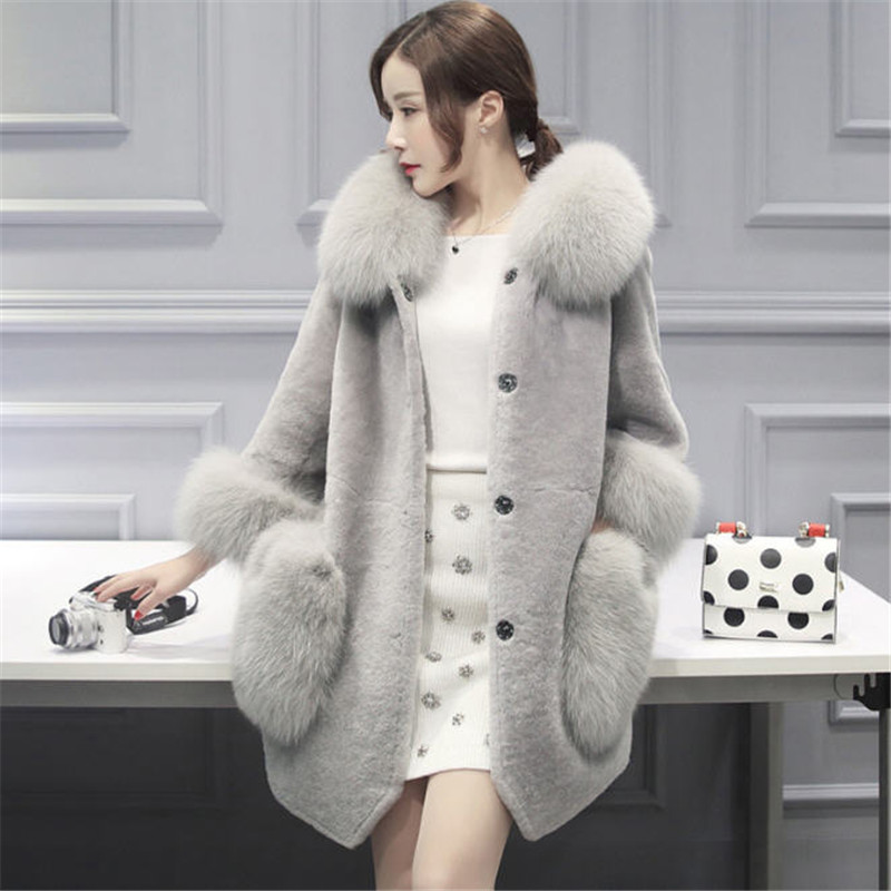 Women Faux Fur Coat With Fox Fur Collar High Quality Hooded Long Warm Fake Fur Jacket Winter Outerwear Ladies Fur Coats A1731