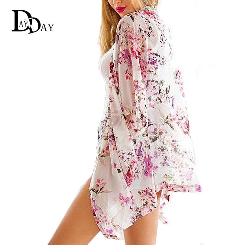 Floral Print Summer Chiffon Cardigan Casual Asymmetrical Women ...