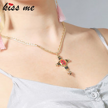 KISS ME Environment Alloy Enamel Cross Pendant Necklace Link & Snake Double Chain Vintage Women Necklace Jewelry(China)