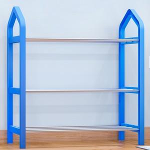 Image 5 - Simple Shoe rack Steel Pipe Plastic 3 Tier Shoe Rack Shelf Easy Assembled Light Storage Organizer Stand Holder Space Saving
